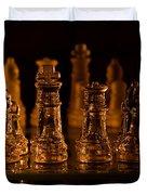 Candle Lit Chess Men Duvet Cover
