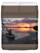 Canoe At Sunset Duvet Cover