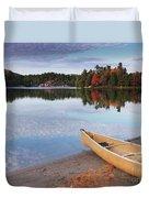 Canoe On A Shore Autumn Nature Scenery Duvet Cover