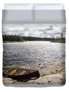 Canoe Pulled Up On The Shore Duvet Cover