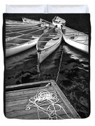 Canoes Docked At Lost Lake Duvet Cover