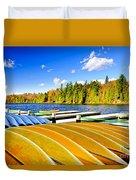 Canoes On Autumn Lake Duvet Cover