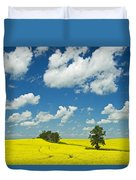 Canola Field And Clouds, Rathwell Duvet Cover