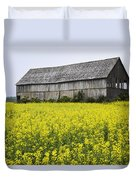 Canola Field And Old Barn Duvet Cover