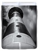 Cape Canaveral Lighthouse Black And White Duvet Cover