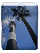 Cape Canaveral Lighthouse With Palm Tree Duvet Cover