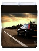 Car On The Road During Sunset Duvet Cover