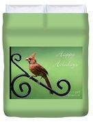 Cardinal Holiday Card Duvet Cover