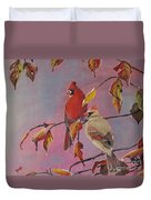 Cardinals In Falls Duvet Cover