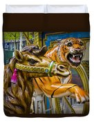 Carousal Camel And Tiger On A Merry-go-round Duvet Cover