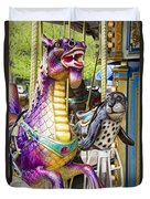 Carousal Dragon And Seal On A Merry-go-round Duvet Cover