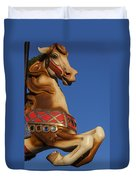 Carousel Horse Against Blue Sky Duvet Cover
