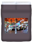 Carousel Horse With Flags Duvet Cover