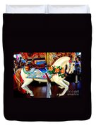 Carousel Horse With Roses Duvet Cover