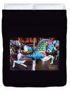 Carousel Horse With Sea Motif Duvet Cover