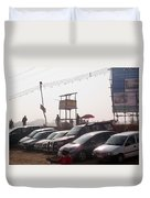 Cars In A Parking Lot At Surajkund Duvet Cover