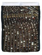 Cars Queue Up At A Tollbooth On The Bay Duvet Cover