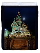 Carson Mansion At Christmas With Moon Duvet Cover