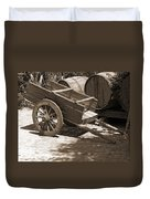 Cart And Wine Barrels In Italy Duvet Cover