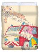 Cartoon Fire Engine And Animals Duvet Cover