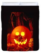 Carved Pumpkin With Fall Leaves Duvet Cover