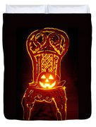 Carved Smiling Pumpkin On Chair Duvet Cover
