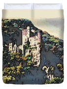 Castle Above The Rhine In Germany Duvet Cover