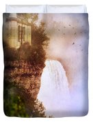 Castle At The Edge Of The Falls Duvet Cover