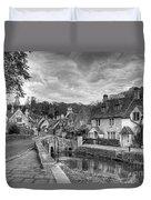 Castle Combe England Monochrome Duvet Cover