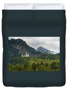 Castle Neuschwanstein With Alps In The Background Duvet Cover