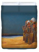 Castle With Two White Domes Duvet Cover