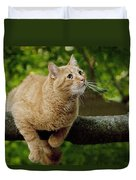 Cat Hanging On A Limb Duvet Cover