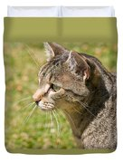 Cat Portrait On A Green Lawn Duvet Cover