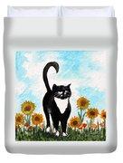 Cat Walk Through The Sunflowers Duvet Cover