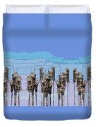 Cattail Blues Duvet Cover