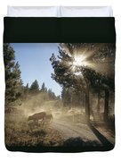 Cattle Cross A Gravel Road On A Fall Duvet Cover