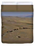 Cattle Drive In Montana Duvet Cover
