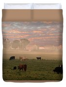 Cattle In The Fog Duvet Cover