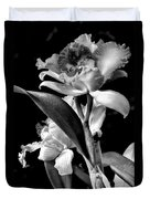 Cattleya - Bw Duvet Cover by Christopher Holmes