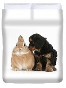 Cavapoo Pup And Sandy Netherland-cross Duvet Cover