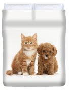 Cavapoo Puppy And Kitten Duvet Cover