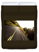Center Lines Along A Paved Road In Autumn Duvet Cover