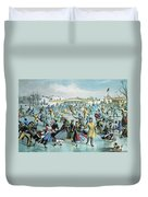 Central Park Skating Pond New York Duvet Cover by Photo Researchers