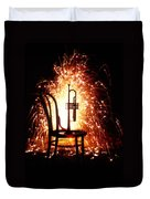 Chair And Horn With Fireworks Duvet Cover