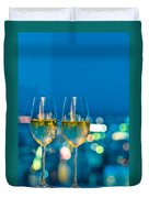 Champagne Glasses In Front Of A Window Duvet Cover