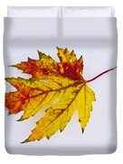 Changing Autumn Leaf In The Snow Duvet Cover