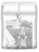 Charcole American Indian Children  Duvet Cover
