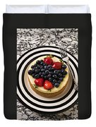 Cheese Cake On Black And White Plate Duvet Cover