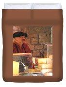 Cheese Seller At Sarlat Market Duvet Cover