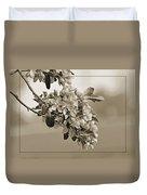 Cherry Blossoms Sepia Duvet Cover